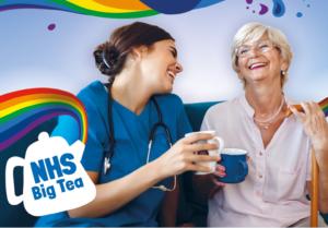 Nurse and patient celebrate the NHS Big Tea event
